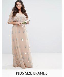 Lovedrobe Luxe | Декорированное Платье Макси С Рукавами-Кимоно