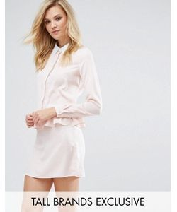 Fashion Union Tall | Long Sleeve Frill Detail Dress With Collar Detail