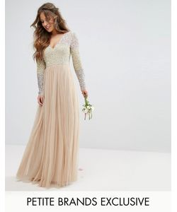 Maya Petite | Long Sleeve V Neck Tulle Maxi Dress With