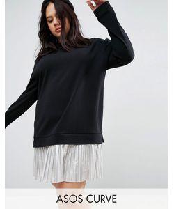 ASOS CURVE | Платье 2-В-1 С Блестящей Юбкой Плиссе
