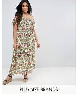 NVME | Платье Макси С Широким Вырезом И Оборкой Plus