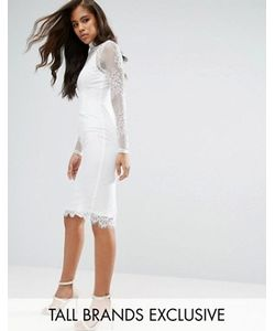 Missguided Tall | High Neck Lace Midi Dress