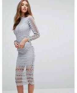 MISSGUIDED | Кружевное Платье Миди С Высокой Горловиной