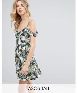 ASOS TALL | Короткое Приталенное Платье С Открытыми Плечами И Принтом Ананасов