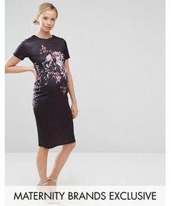 Hope and Ivy Maternity | Облегающее Платье Миди Для Беременных С Короткими Рукавами И Принтом Птиц