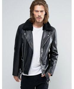Asos | Байкерская Кожаная Куртка С Воротником Из Искусственного Меха