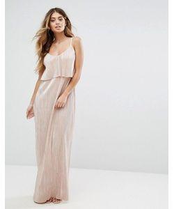 Club L | Плиссированное Платье Макси Цвета Металлик С Накладкой