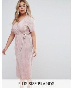 Club L Plus | Плиссированное Платье С Запахом И Поясом