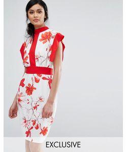 Closet London | Платье Миди С Принтом Контрастными Вставками И Завязкой