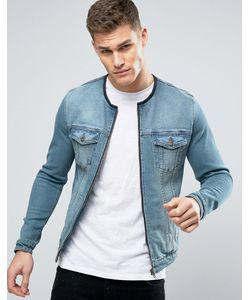 Asos | Синяя Джинсовая Куртка Без Воротника