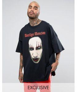 Reclaimed Vintage | Черная Oversize-Футболка С Принтом Marilyn Manson Inspired