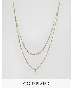 Orelia   Позолоченное Двухрядное Ожерелье С Бусинами И Подвеской-Капелькой