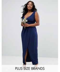 TFNC Plus | Wedding Wrap Front Maxi Dress With Wrap Skirt