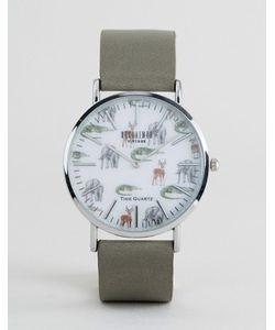 Reclaimed Vintage | Часы С Серым Кожаным Ремешком И Принтом Сафари