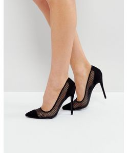 Public Desire | Черные Туфли-Лодочки На Каблуке С Сетчатой Вставкой