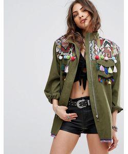 boohoo | Фестивальная Куртка С Вышивкой И Кисточками