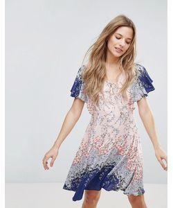 Yumi | Платье С Рукавами-Оборками И Цветочным Принтом