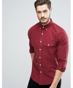 Abercrombie and Fitch | Бордовая Обтягивающая Рубашка На Пуговицах С Вышивкой Abercrombie Fitch