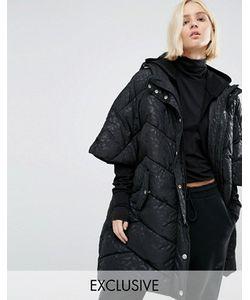 Puffa | Дутая Куртка-Кейп В Стиле Oversize С Капюшоном И Однотонным Леопардовым Принтом