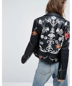 BLANKNYC | Байкерская Куртка Из Искусственной Кожи С Принтом Цветов