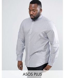 Asos | Эластичная Приталенная Рубашка В Голубую Полоску Plus