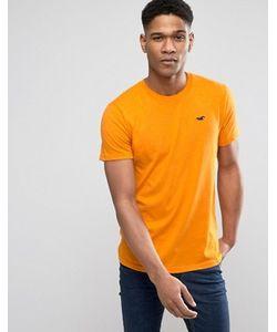 Hollister | Оранжевая Узкая Футболка С Логотипом Must Have