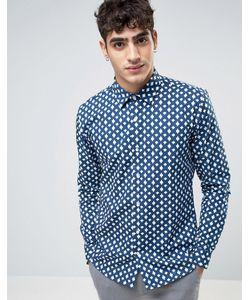 RUDIE | Рубашка Из Саржи Цвета Индиго С Принтом