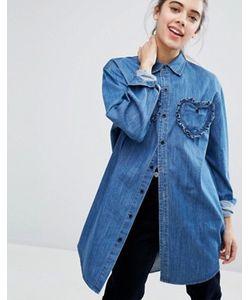 Lazy Oaf | Джинсовая Рубашка С Отделкой Сердечками