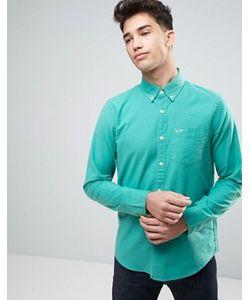 Hollister | Оксфордская Узкая Рубашка Из Зеленой Эластичной Ткани На Пуговицах