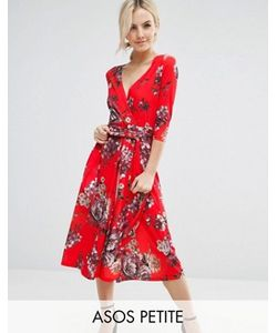 ASOS PETITE | Креповое Платье Миди С Цветочным Принтом
