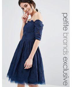 Chi Chi Petite   Кружевное Платье Со Спущенными Длинными Рукавами Chi Chi London Petite