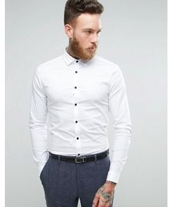 Asos | Рубашка Суперузкого Кроя С Контрастными Пуговицами