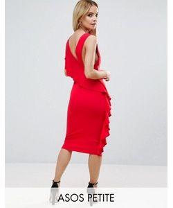 ASOS PETITE | Платье Миди С Глубоким Вырезом И Оборкой