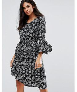 Yumi   Платье С Расклешенными Рукавами И Цветочным Принтом