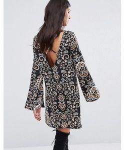 MISSGUIDED | Свободное Платье С Принтом И Перекрестным Дизайном На Спине