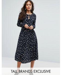 Glamorous Tall | Приталенное Платье Миди С Цветочным Принтом Расклешенными Рукавами И Шнуровкой Glamorous