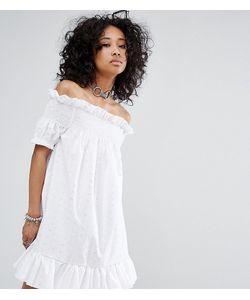 Milk It | Платье Миди Со Спущенными Плечами И Вышивкой Ришелье Vintage