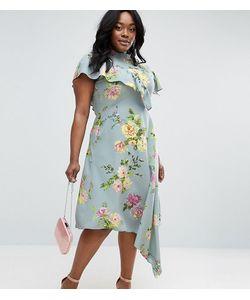 ASOS CURVE | Асимметричное Чайное Платье С Цветочным Принтом