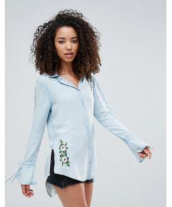 Influence | Рубашка Из Шамбре С Вышивкой