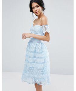 Chi Chi London | Платье Миди С Открытыми Плечами И Кружевом
