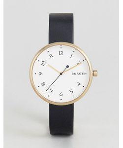 Skagen | Фирменные Часы С Черным Кожаным Ремешком