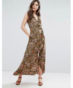 Qed London | Платье Макси С Запахом И Оборками
