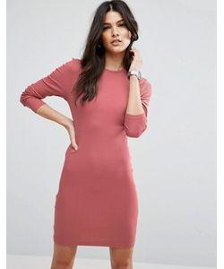 Asos | Облегающее Платье Мини В Рубчик С Длинными Рукавами