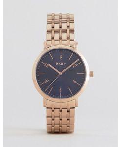 DKNY | Часы Цвета Розового Золота С Темно-Синим Циферблатом