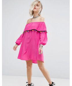 Glamorous | Платье С Открытыми Плечами И Отделкой Помпонами