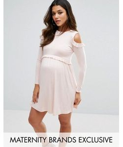 Missguided Maternity | Cold Shoulder Frill Jersey Dress