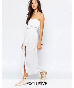 Akasa | Пляжное Платье Макси С Отделкой Кроше И Разрезом Спереди