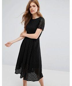 YMC | Платье Миди С Зигзагообразным Узором