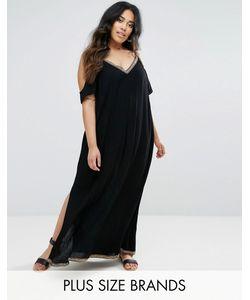 Diya | Платье Макси С Открытыми Плечами И Контрастной Отделкой
