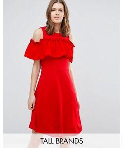Y.A.S Tall   Приталенное Платье С Открытыми Плечами И Оборкой Nina